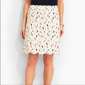 Talbots tropical bird scalloped pencil skirt